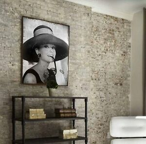 xxl audrey hepburn bild leinwand 100x80x5 shabby chic vintag gem lde sepia ikea ebay. Black Bedroom Furniture Sets. Home Design Ideas