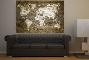 xxl bild 140x95x5 loft design leinwand weltkarte auf holz gem lde premi r neu ebay. Black Bedroom Furniture Sets. Home Design Ideas