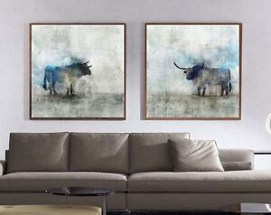 xxl bild set 200x95x5 neu landhaus leinwand bulle stier. Black Bedroom Furniture Sets. Home Design Ideas