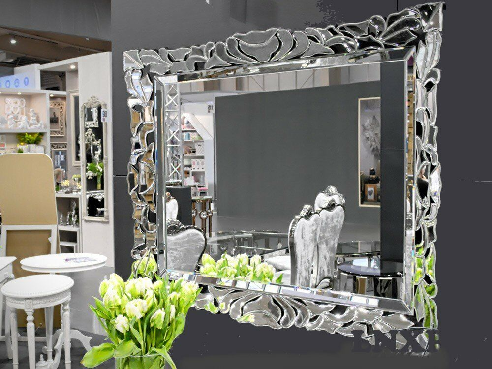 xxl design moderne miroir mural cristal en verre 100x80 exclusivit woe ebay. Black Bedroom Furniture Sets. Home Design Ideas