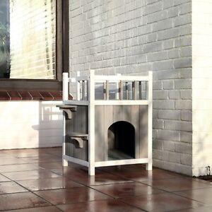 xxl katzenhaus mit balkon katzen wetterfest premium in und outdoor cats home ebay. Black Bedroom Furniture Sets. Home Design Ideas