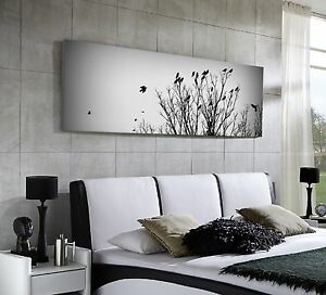 xxl panorama leinwand 155x50 natur bild baum v gel schwarz. Black Bedroom Furniture Sets. Home Design Ideas
