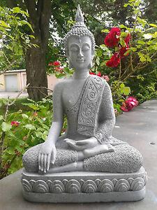 XXL-Thai-Buddha-Budda-Figur-Statue-Feng-Shui-sitzend-Steingrau-Neu-ca-40-cm