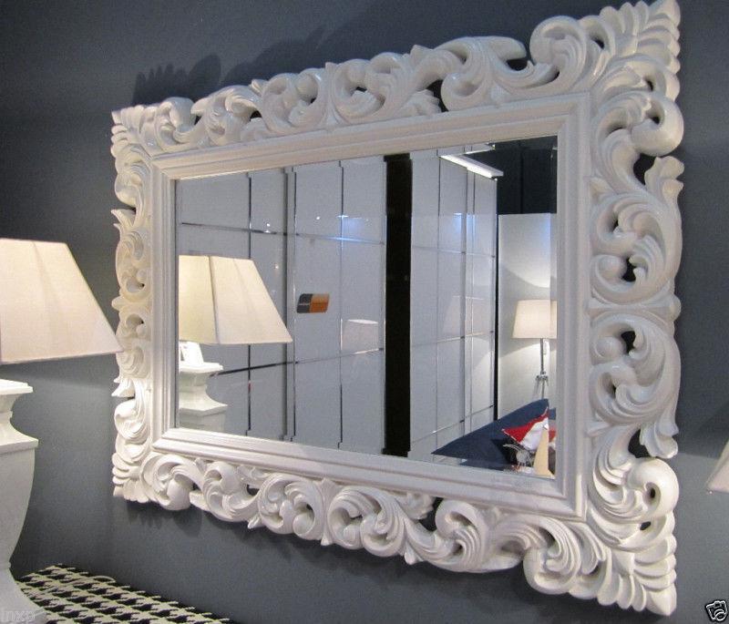 Xxl espejo de pared antiguo rococ 120 x 90 barroco en for Espejo de pie blanco