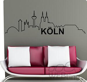 xxl wandtattoo skyline k ln wandaufkleber aufkleber ebay. Black Bedroom Furniture Sets. Home Design Ideas