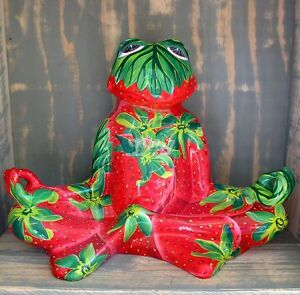 yoga frosch relax erdbeere lotussitz garten deko figur feng shui meditation ebay. Black Bedroom Furniture Sets. Home Design Ideas
