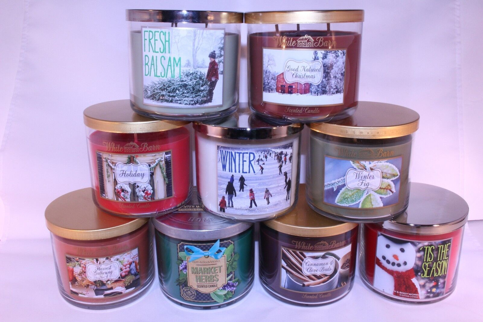 you pick lot bath and body works white barn co 3 wick candle large 14 5 oz new ebay. Black Bedroom Furniture Sets. Home Design Ideas