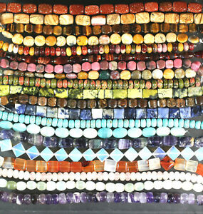"YOUR CHOICE GEMSTONE BEADS -MANY STONES SHAPES SIZES 8"" in Jewelry & Watches, Loose Beads, Stone 