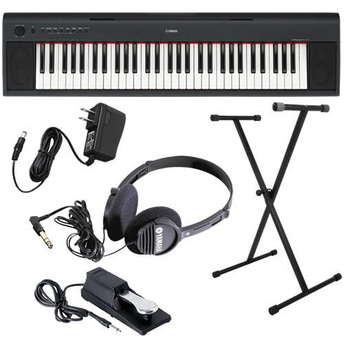 Yamaha Piaggero NP11 61 Key Portable Keyboard Home Essentials Bundle