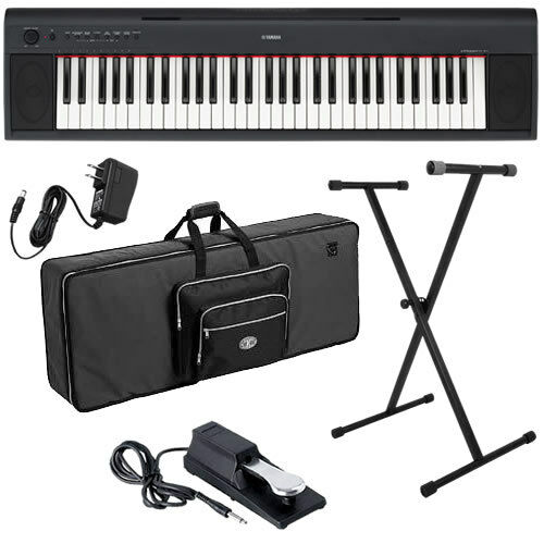 Piaggero NP11 61 Key Portable Keyboard Stage Essentials Bundle