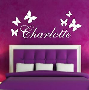 your name personalised wall art stickers kids butterfly ebay