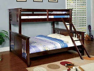 Twin Beds & Frames: Youth Mission Style Twin/Queen XL Dark Walnut ...