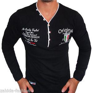 ZAHIDA-Herren-Langarm-T-Shirt-Sweatshirt-Longsleeve-Italia-Italy-Schwarz-NEU