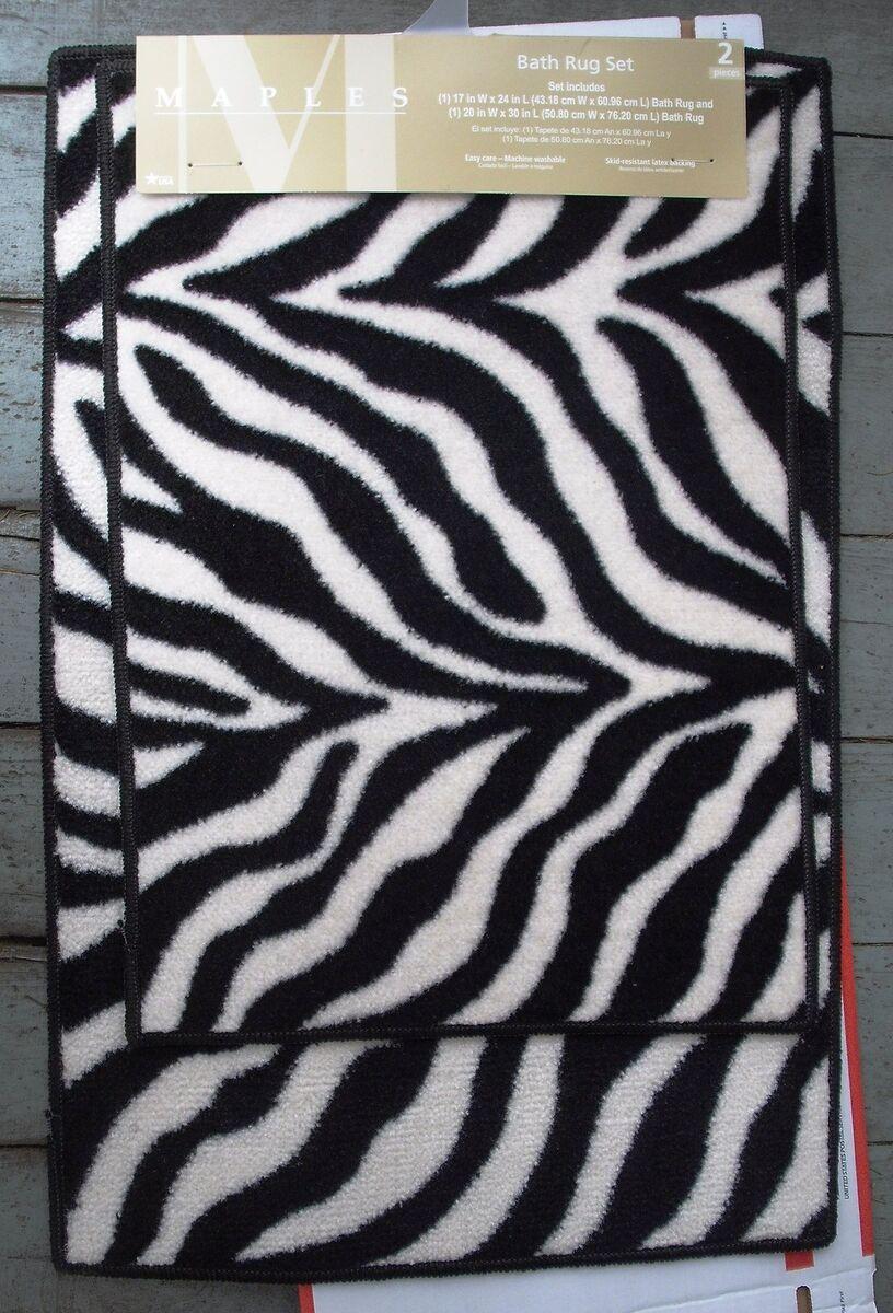 stripe bath rugs set 2 black white zebra stripe bath