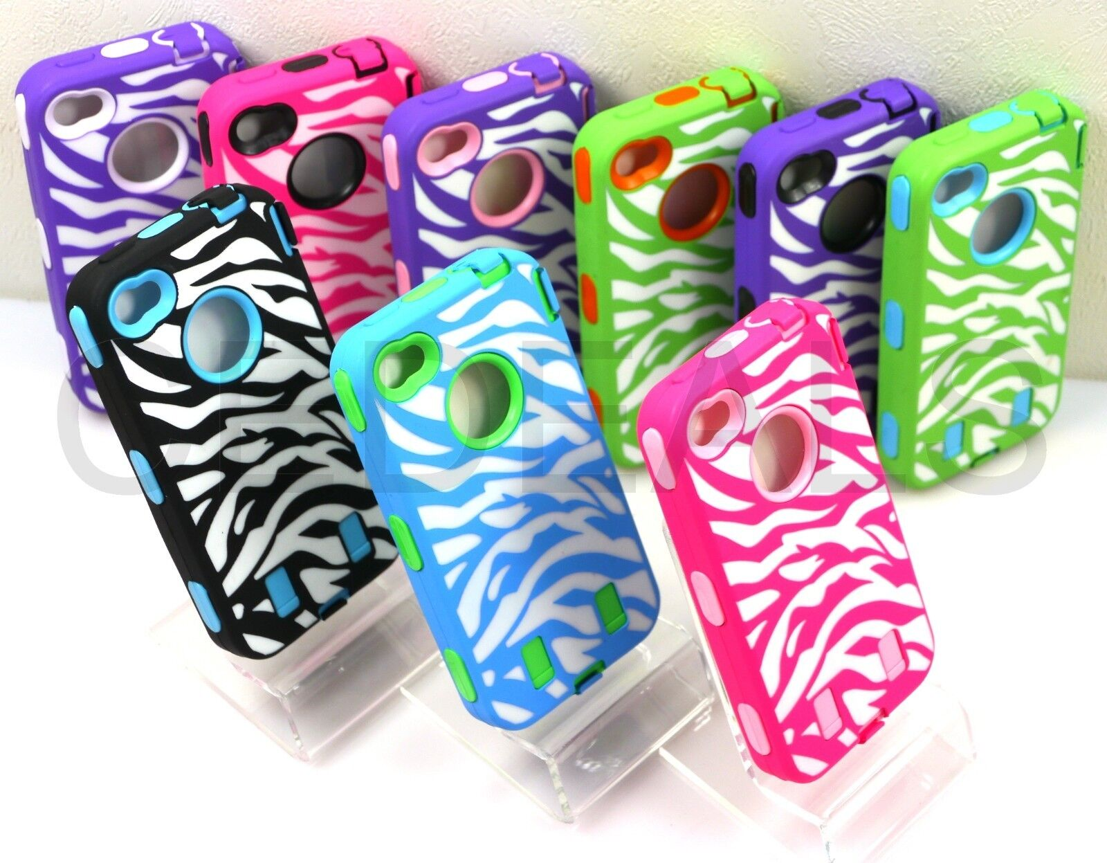 ZEBRA STRIPES DEFENDER HARD CASE RUBBER COVER w/ BUILT IN SCREEN FOR IPHONE 4 4S - $4.79
