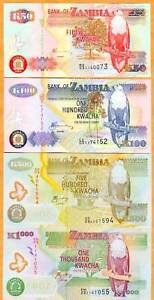 Zambia, SET, 50;100;500;1000 Kwacha, 2007-2011, P-37;38;39;40 UNC in Coins & Paper Money, Paper Money: World, Africa | eBay