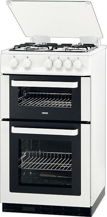 zanussi zcg563fw 50cm white freestanding double oven gas. Black Bedroom Furniture Sets. Home Design Ideas