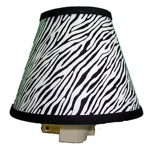 Zebra print night light bedroom bath decor black white ebay for Zebra print and red bathroom ideas