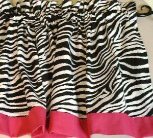 Zebra print with hot pink border valance curtain window treatment kids