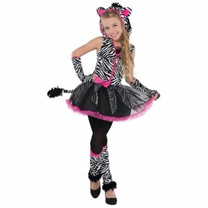zebrakost m kost m zebra f r m dchen teenager tier kost m karneval halloween neu ebay. Black Bedroom Furniture Sets. Home Design Ideas