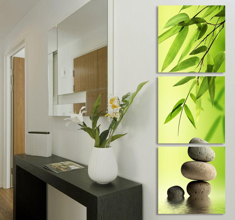 Zen Garden Bamboo Modern Wall Art With Clock Canvas Print