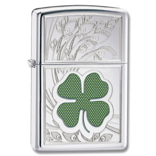 "Zippo ""4 Leaf Clover-Luck"" Lighter, High Polish Chrome, Low Ship, 24699 in Collectibles, Tobacciana, Lighters 