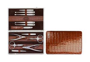 Zwilling-Twinox-Beauty-Manikuere-Emblem-Kroko-Rahmen-Kalbleder-cognac-braun-12tlg