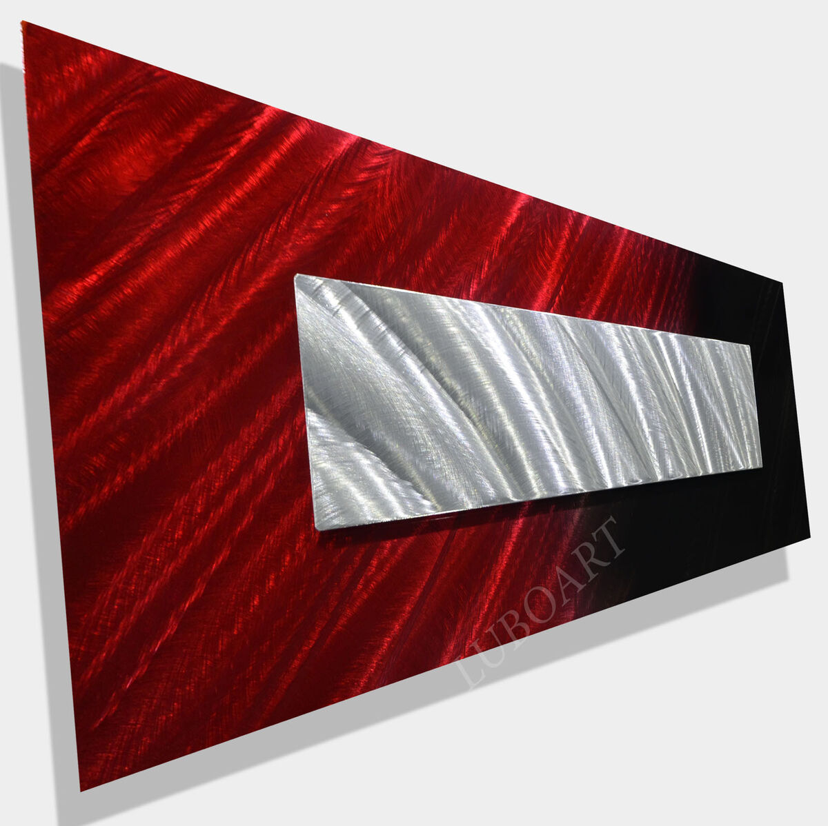 Abstract Metal Art Red Painting Contemporary Collage Modern Wall Decor Original