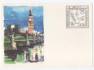 alte-DDR-Ersttagspostkarte-Briefmarkenweltausstellung-Stamp-London-1990-NEU