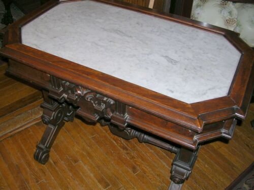 antique burl walnut renaissance revival picture frame marble top parlor table in Antiques, Furniture, Tables | eBay