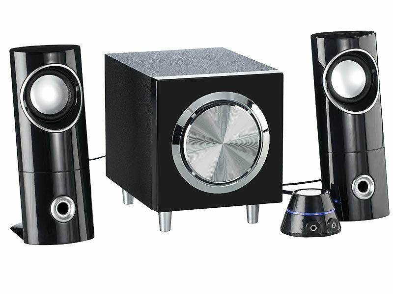 lautsprecher boxen speaker active stereo 2 1 mit subwoofer soundsystem ebay. Black Bedroom Furniture Sets. Home Design Ideas