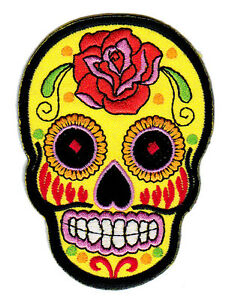 bb04 sugar skull tattoo tag der toten mexiko aufn her b gelbild totenkopf patch ebay. Black Bedroom Furniture Sets. Home Design Ideas