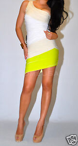 Shoulder White Dress on Bebe Dress Xs Silk Stripe One Shoulder Beige Neon Yellow White Bandage