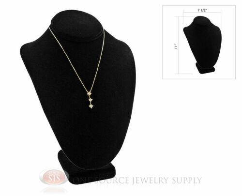 """Black Necklace Pendant Chain Display Bust  7 1//2/""""W x 5 1//8/""""D x 11/""""H"""
