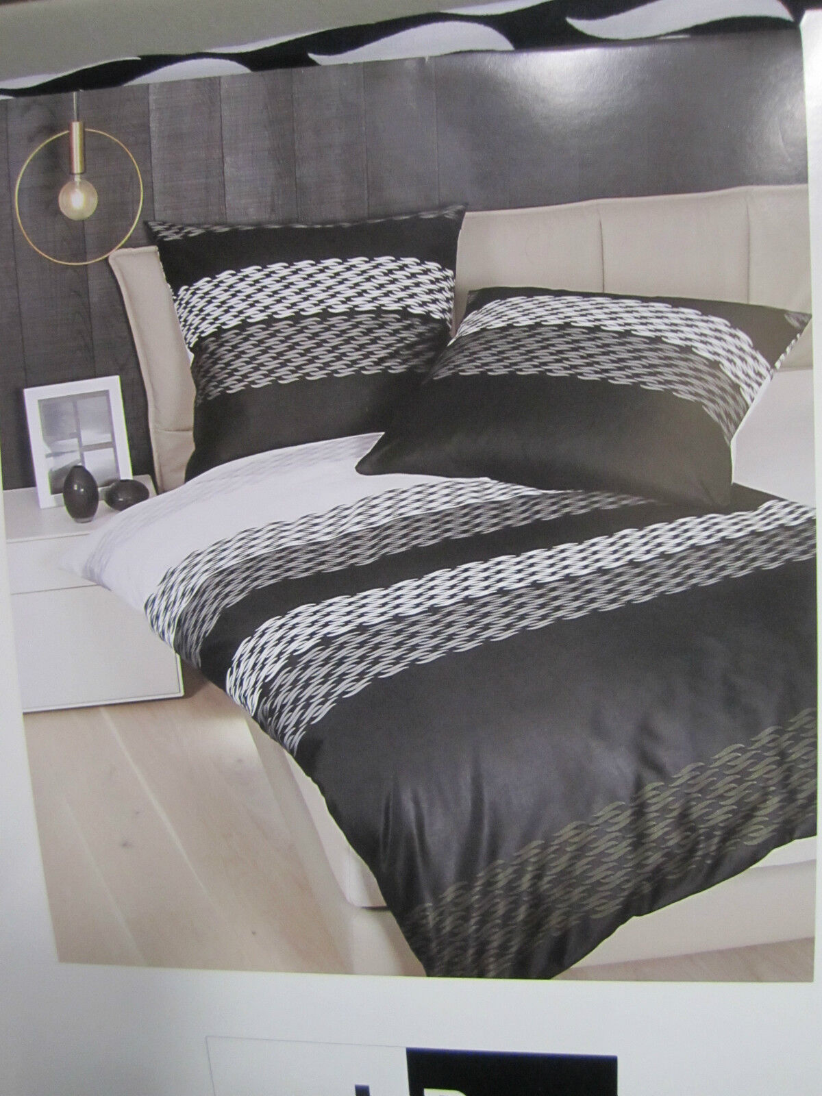 janine mako satin bettw sche 135x200 bettgarnitur streifen dessin gr n baumwolle ebay. Black Bedroom Furniture Sets. Home Design Ideas