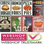 Cafe Pub Bord / Wandbord - BBQ - Fast Food - Hot Dogs