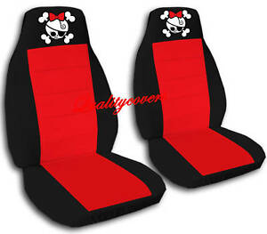 front girly skull car seat covers black red back seat avbl on popscreen. Black Bedroom Furniture Sets. Home Design Ideas