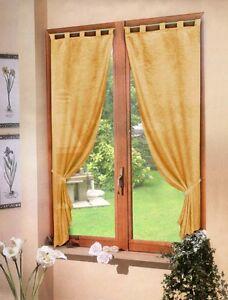 Coppia tende giallo oro raso 60x150 tenda finestra cucina soggiorno camera bagno ebay - Tende viola per camera da letto ...