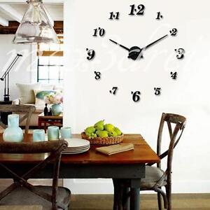 design wand uhr wohnzimmer wanduhr spiegel edelstahl wandtattoo deko xxl 3d b ro ebay. Black Bedroom Furniture Sets. Home Design Ideas