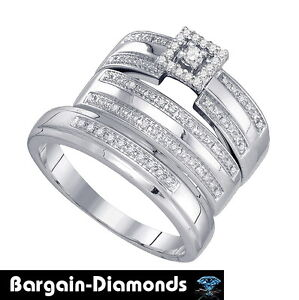 ... ring bridal engagement wedding band set .23 bride matching groom 925