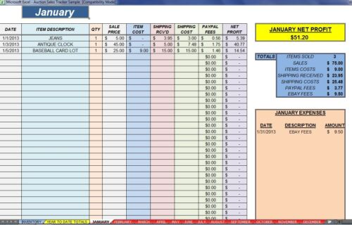 Ebay 12 Month Auction Accounting Sales Profit Expense