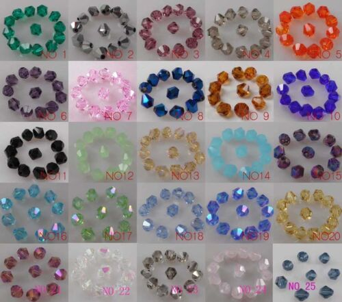 free shipping 200pcs 4mm Bicone Flicker glass crystal spacer bead color optional in Jewelry & Watches, Loose Beads, Crystal | eBay