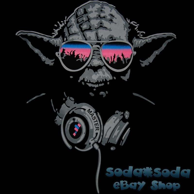 7bf30229 funny DJ YODA T SHIRT trance STAR WARS Club beats Party headphones hip