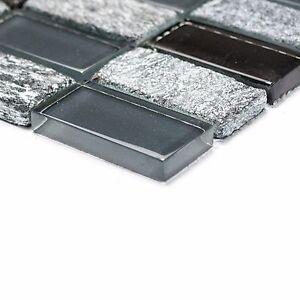 grau schwarz glas naturstein mosaik f r k che bad dusche sauna bord re ebay. Black Bedroom Furniture Sets. Home Design Ideas