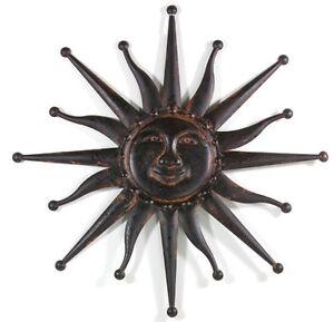 gro e lachende metall sonne antik braun f r wand im haus oder garten 59 cm neu ebay. Black Bedroom Furniture Sets. Home Design Ideas