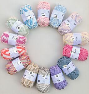 g nstige babywolle zum stricken und h keln rico baby cotton soft print baby wool ebay. Black Bedroom Furniture Sets. Home Design Ideas