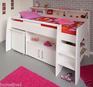 halbhoch prinzessin Bett Mädchen hochbett Weiß mit Kommode