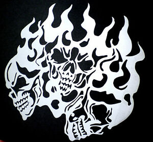 high detail airbrush stencil flame skulls four FREE POSTAGE | eBay