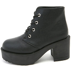 ... Combat Heels Lace Up Closure Round Toe Black Ankle Boots | eBay