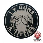 I Love Guns & Titties grijze PVC Patch met klittenband
